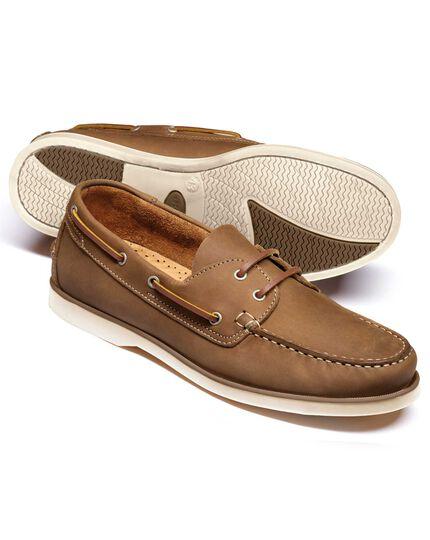 Tan Fowey boat shoes