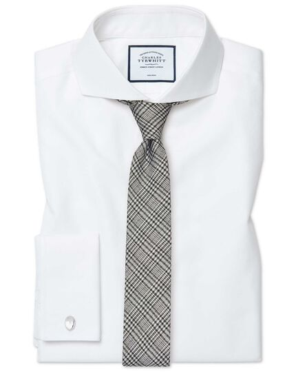 Extra slim fit extreme spread collar non-iron twill white shirt