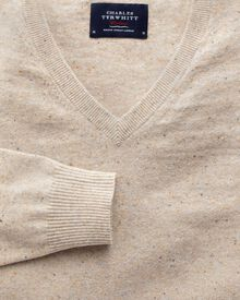Stone cotton cashmere v-neck sweater