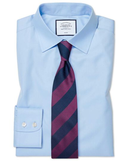 Bügelfreies Classic Fit Twill-Hemd in himmelblau