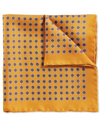 Gold classic printed medallion pocket square