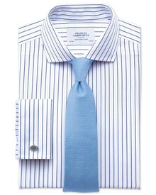 Slim fit spread collar non iron stripe white and navy shirt