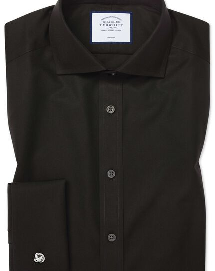 Extra slim fit cutaway collar non-iron black shirt