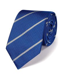 Royal blue and white silk classic stripe tie