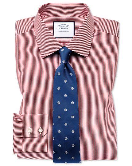 Slim fit non-iron short sleeve bengal stripe red shirt