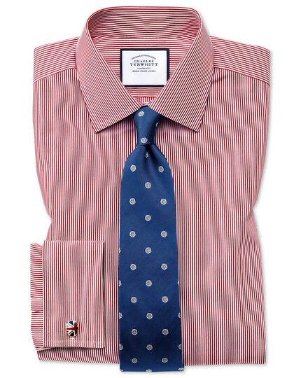 Slim fit non-iron bengal stripe red shirt