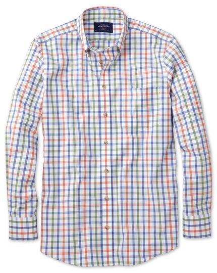 Slim fit non-iron poplin green and orange check shirt