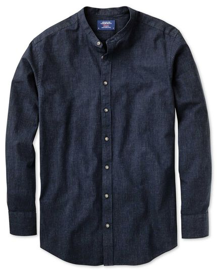 classic fit hemd ohne kragen in marineblau charles tyrwhitt. Black Bedroom Furniture Sets. Home Design Ideas