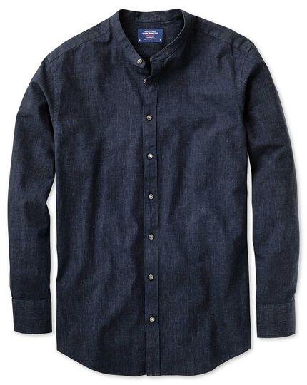 Slim fit collarless navy shirt charles tyrwhitt for Collarless white shirt slim fit