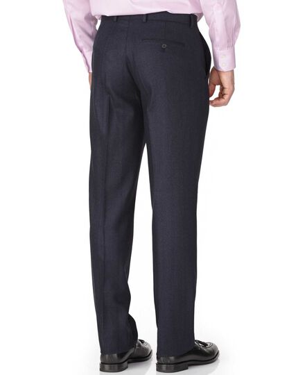 Indigo classic fit saxony business suit trousers