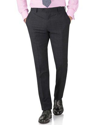 Charcoal slim fit sharkskin travel suit trouser