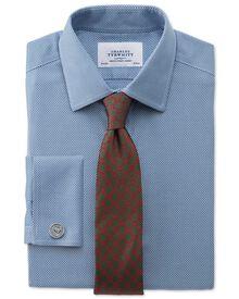 Bügelfreies Extra Slim Fit Hemd in Mittelblau mit Waffelmuster