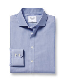 Extra slim fit spread collar non-iron bengal stripe navy shirt