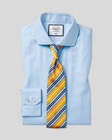 Classic fit cutaway collar non-iron twill sky blue shirt