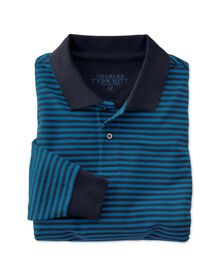 Classic fit navy and blue striped pique long sleeve polo shirt