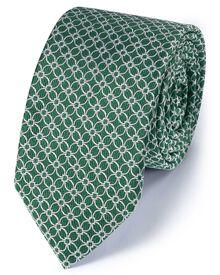 Slim green silk classic geometric floral tie