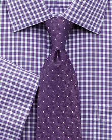 Slim fit non-iron gingham purple edged short sleeve shirt