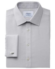 Slim fit non-iron micro spot grey shirt
