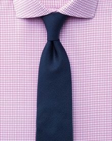 Slim fit cutaway collar non-iron dobby check pink shirt