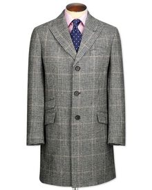 Grey check wool Epsom overcoat
