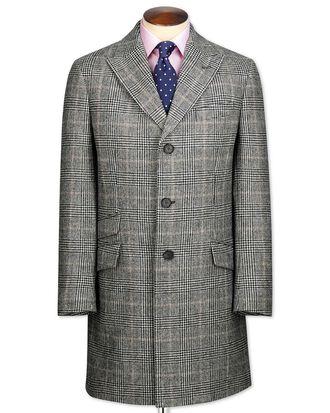 Grey check wool Epsom overcoat