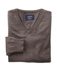 Brown cotton cashmere v-neck jumper