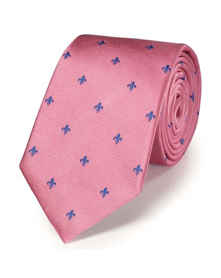 Pink and royal blue silk classic Fleur-de-Lys tie