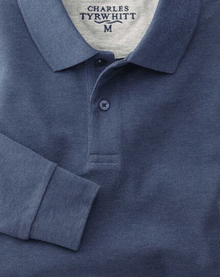 Slim fit indigo pique long sleeve polo