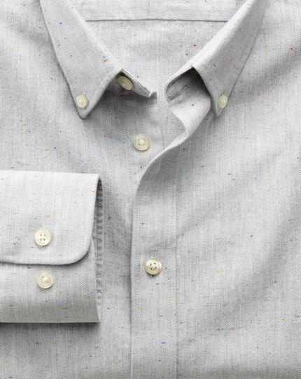 Classic fit modern Oxford grey fleck shirt
