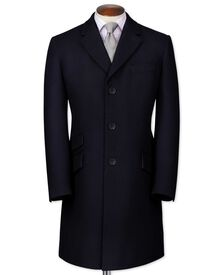Slim fit navy wool Epsom overcoat