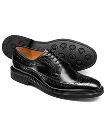 Black Boyton wing tip brogue Derby shoe