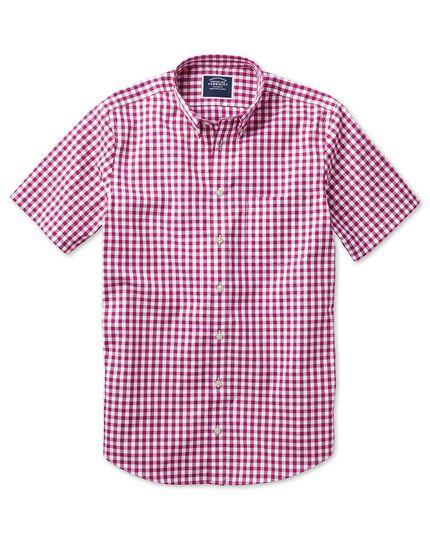 Classic fit non-iron poplin short sleeve raspberry check shirt