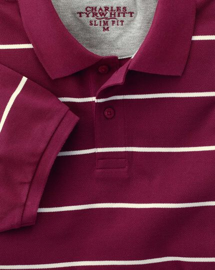 Slim fit wine and white striped pique polo