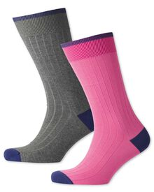 Pink and grey ribbed 2 pack socks