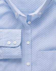 Women's semi-fitted cotton Oxford sky and white spot shirt