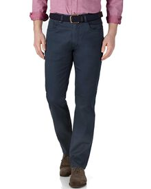 Blue slim fit stretch pique 5 pocket trousers