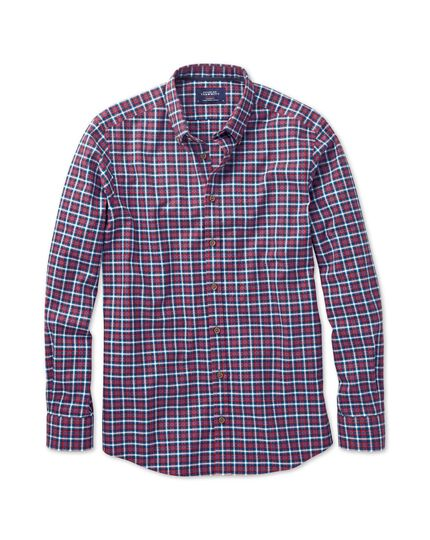 Slim fit red and blue check shirt