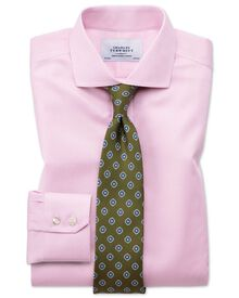 Extra slim fit spread collar non iron puppytooth light pink shirt