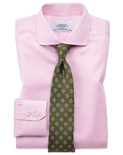 Extra slim fit spread collar non-iron puppytooth light pink shirt
