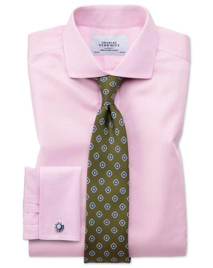 Extra slim fit spread collar non iron puppytooth light pink shirt