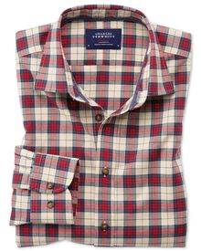 Slim fit heather tartan red check shirt