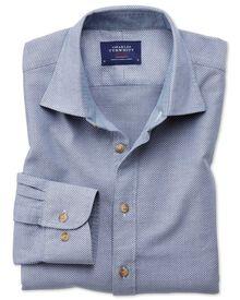 Slim Fit Hemd in gewaschenem jeansblau mit Struktur