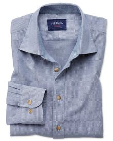 Slim fit denim blue washed textured shirt