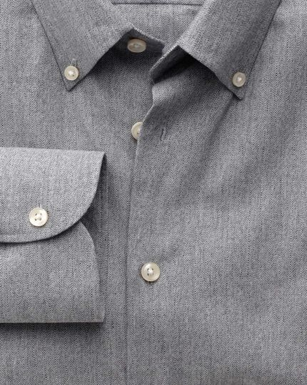 Slim fit button-down collar business casual grey shirt