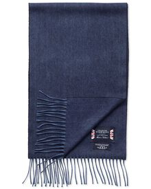 Navy herringbone cashmere and merino scarf