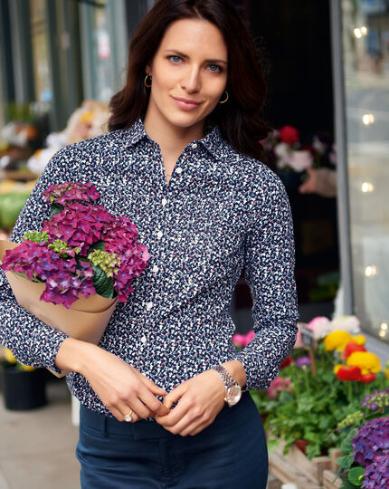 Women's semi-fitted floral print bib front bluebell shirt