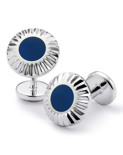 Blue circle with textured edge enamel cufflinks