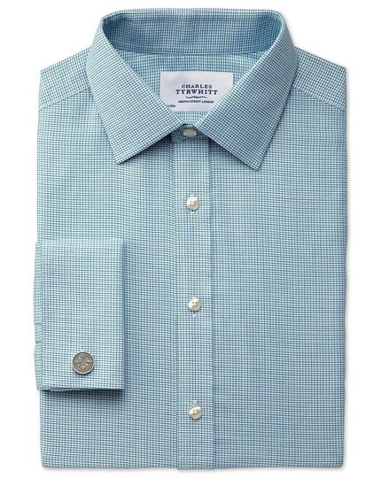 Extra slim fit non-iron textured green check shirt