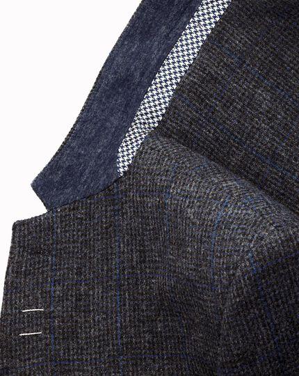 Grey slim fit windowpane British tweed jacket