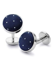 Navy blue and white dot cuff links